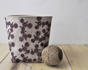 Linen fabric storage basket, Hand printed fabric bin