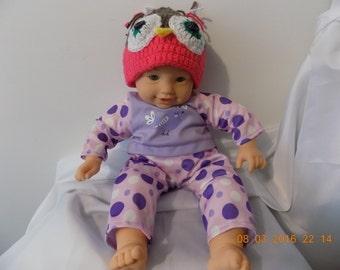 67---Pink Owlet Hat   3-6 months