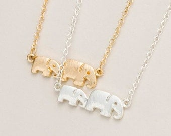 Elephant necklace - mother and baby elephant jewelry gold and silver mother and child mother's day gift for mom family