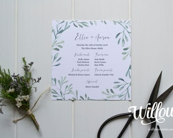 Olive Grove Wedding Program