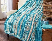 Shades of Aqua, Blue, and White Ripples and Waves Crochet Afghan Kit by Caron BRAND NEW (sealed) with instructions and yarn