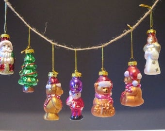 CHRISTMAS ORNAMENTS, Vintage decor, Glass ornaments set, Christmas tree, Glass balls, Santa claus, Home decoration, Christmas gift