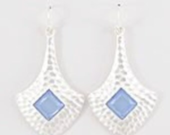Hammered Earrings with blue accent