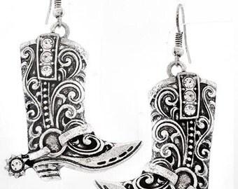 Filigree Cowboy Boot Earrings, Burnished Silvertone Western Boot Earrings
