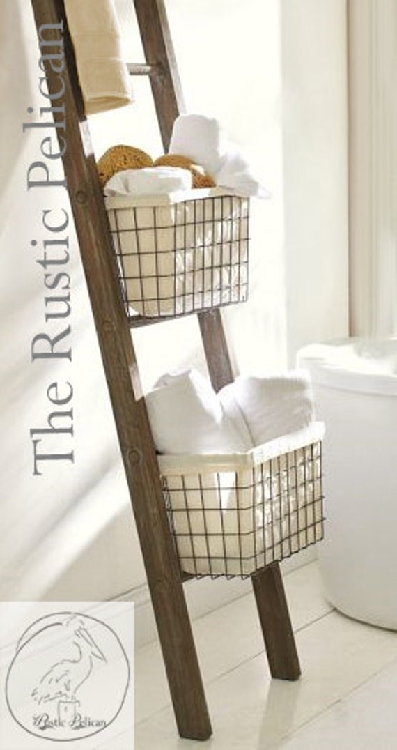 Rustic bathroom ladder farmhouse ladder rustic by for Bathroom decor ladder