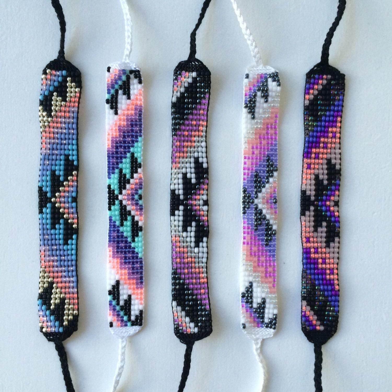 Seed Bead Friendship Bracelet Southwestern Sun Pattern
