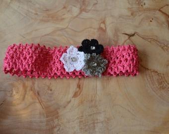 Pink, Black, White, and Gray Flower Baby Headband