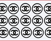 CHANEL Circle Themed Vinyl Decals (Set of 12)