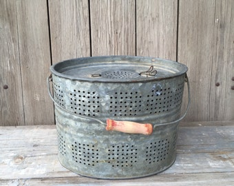 vintage minnow bucket, galvanized metal pail, vintage fishing