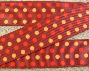 """3 yards Dots Grosgrain Ribbon Fall Dots Ribbon Brown Printed Ribbon 7/8"""" Halloween Dots Hair Bow Ribbon Holiday ribbon"""