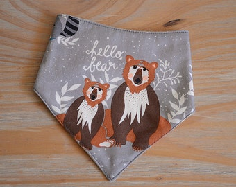 Hello Bear bandana baby dribble bib