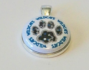 Blue and White Wildcats Paw Print Inspired Round Silver Pendant