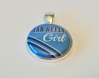 Blue and White Tar Heels Girl Inspired Round Silver Pendant