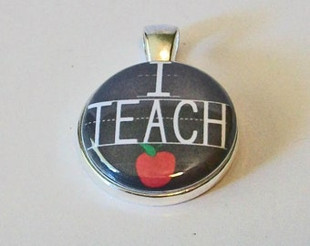 Chalkboard with Red Apple I Teach Teacher Round Silver Pendant