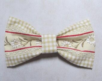 Decorative Alpine Hair Bow Barrette - Hand Sewn - Alpine Pattern with Edelweiss