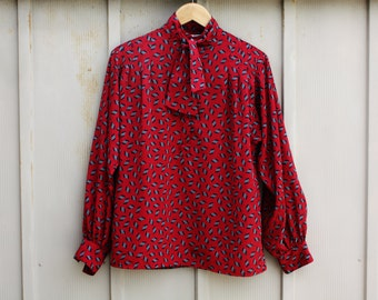 80s Does 60s Secretary Blouse - Mockneck Top - Blouse With Bow - Ascot Top - Necktie Blouse - Red Mod Top - Button Down Shirt - Geometric