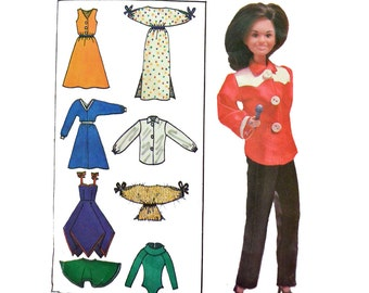 80s Vintage Barbie Pattern UNCUT Butterick 6664 Barbie Doll Patterns 11.5 & 12 1/4 Inch Marie Osmond Doll Clothes Pattern Sewing Patterns