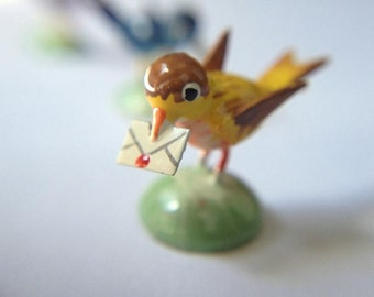 "Miniature dollhouse bird, Erzgebirge, hand carved bird,""you've got mail"""