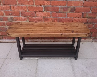 Coffee table or Tv table rustic industrial oval shape top with storage to base