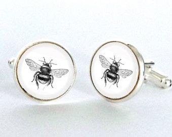 Bee Cufflinks Gift - Groomsmen Gift - Bumble Bee Gift - Wildlife Cufflinks - Bee Illustration - Men's accessories - Insect Gift