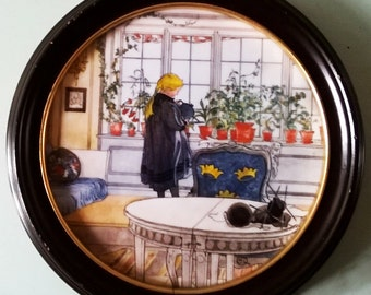 Charming Royal Copenhagan Hand Painted Limited Edition Plaque - 'Flowers On The Windowsill'.