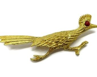 Vintage Roadrunner Brooch, J Ritter Signed Gold Tone Bird Pin