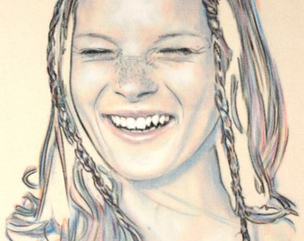 One-off, hand drawn portrait of Kate Moss, in charcoal and pastel on calico