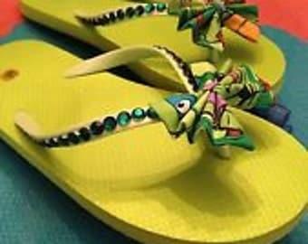 Handmade Teenage Mutant Ninja Turtles Bow Flip Flops!!