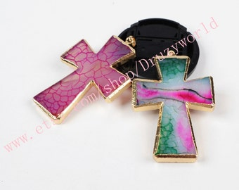 1pcs Beautiful Gold Plated Cross Onyx Agate Pendant Bead Gold Electroplated Gemstone Natural Agate Beads Veins Agate Jewelry G0490