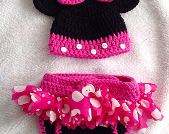 Girly Mouse Hat/Diaper Cover Set