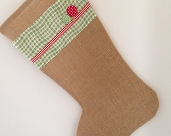 Christmas stocking burlap hessian red green gift wrapping