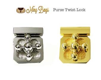 Set of 2 (Gold & Nickel) // Purse Twist Lock / Purse Turn Lock / Metal Locks / Purse Fastener