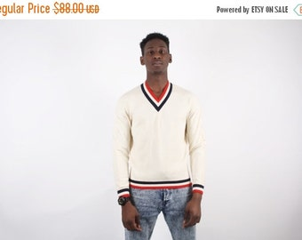 ON SALE Ending 2/12 60s Varsity V Neck Sweater - Varsity Sweater - Letterman Sweater - Colliegate - 1629