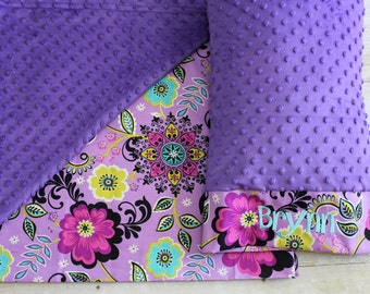 Nap Mat Cover - Purple Paisley - Floral - Aqua - Black - Choose Your Colors - Kindermat - Back To School - Pillowcase - Blanket - Minky