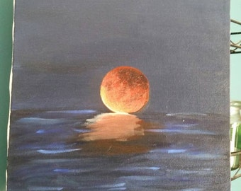 "Red Moon Rising - Oil on Canvas 9""x12"""