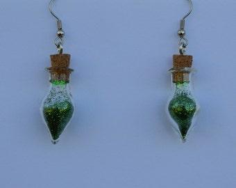 Green Glitter Ornament Earrings