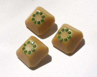 3 Unique Mod 1960s Square Beige Plastic Shank Buttons with Lime Green Rhinestones Inset