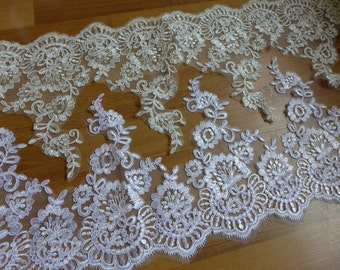 Gracefully Alencon Scalloped Lace Trim in White, Ivory for Bridal, Veils, DIY Wedding, Garments