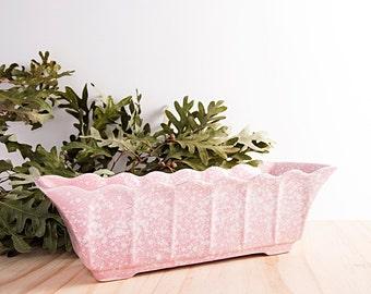 Mid Century Modern Vintage Porcelain Scalloped Edge Baby Pink Planter No. 3002