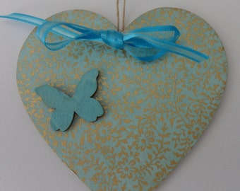 handcrafted silk screened chiyogami wooden heart for friends,mum,sisters,aunties etc
