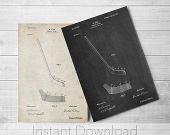 Hockey Stick Printables, Vintage Hockey, Ice Hockey, Sports Decor, PP0291