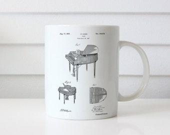 Piano Patent Mug, Music Room Decor, Piano Mug, Musician Gifts, PP0252