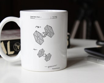 Star Wars TIE Fighter Patent Mug, Star Wars Gifts, Game Room Decor, Starwars Mug, Movie Mugs, PP0211