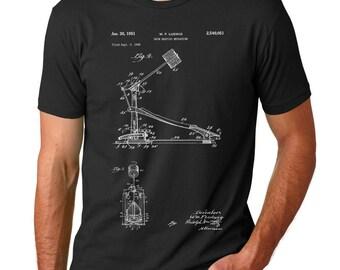 Drum Kick Patent T-shirt, Drummer Shirt, Drum Pedal, Percussion, Drummer Gift PP0104