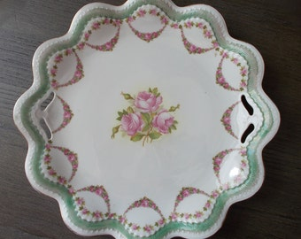 MZ Austria Rose Scalloped Green and Gold Edge Platter