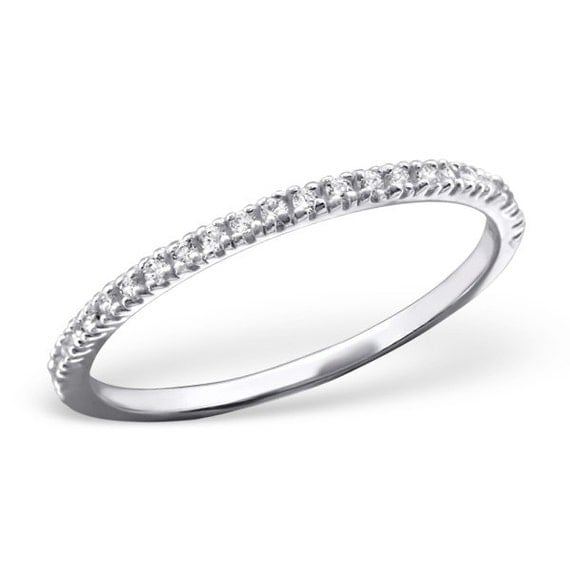 925 sterling silver cubic zirconia line ring size 5 6 5