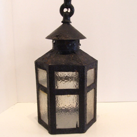 Arts and crafts ceiling light fixture hexagon lantern shade as for Arts and crafts light