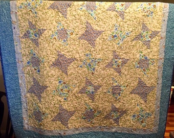 Monkey Business Hand Made Baby Quilt - Blue