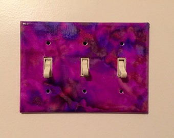 CLEARANCE!! Purple Tie Dye Decorative Light Switch Plates
