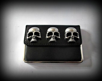 Black PU leather business cards holder-credit card holder-skull card holder- steampunk card holder-gothic card holder